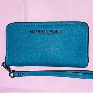 Michael Kors Teal Blue Leather Wristlet
